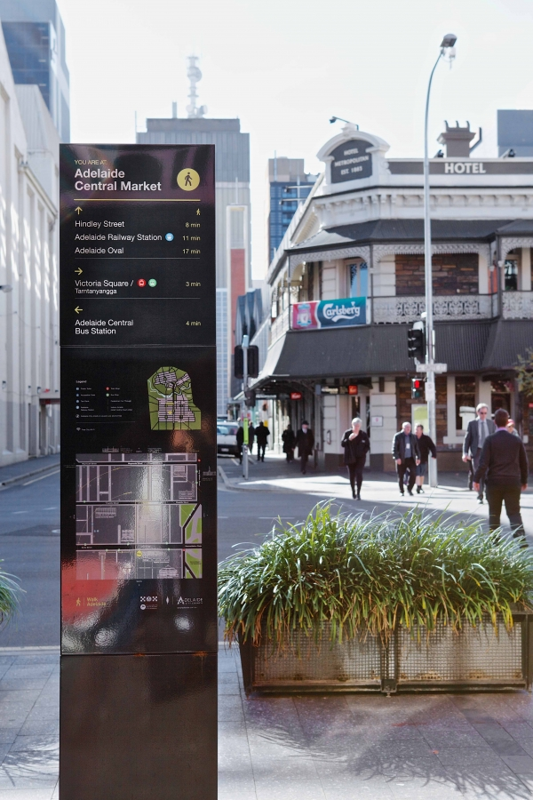 Wayfinding signage is designed to assist people with orientating and navigating their way through the city